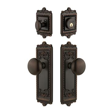 Grandeur Windsor Entry Door Set With Fifth Avenue Knob - Keyed Differently