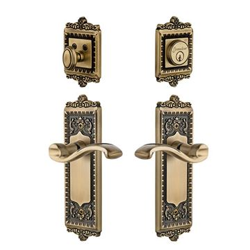 Grandeur Windsor Entry Door Set with Portofino Lever - Keyed Alike