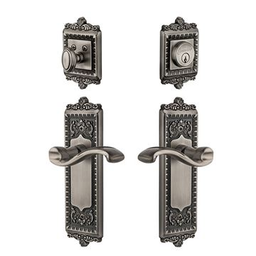 Grandeur Windsor Entry Door Set With Portofino Lever - Keyed Differently