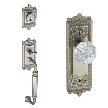 Grandeur Windsor Fluted Grip Thumblatch Entry Set - Crystal Chambord