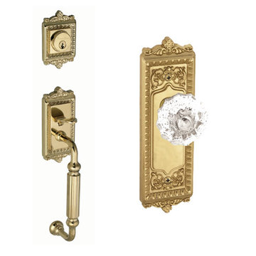 Grandeur Windsor Fluted Grip Thumblatch Entry Set - Crystal Fontainebleau