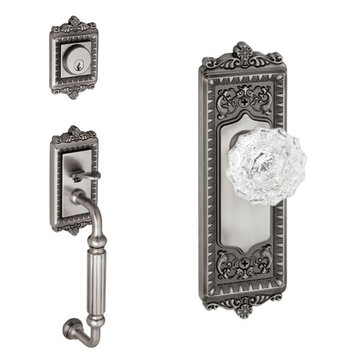 Grandeur Windsor Fluted Grip Thumblatch To Crystal Versailles Knob Entry Set