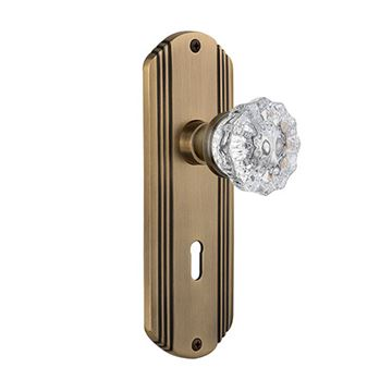 Nostalgic Warehouse Deco Mortise Interior Door Set With Crystal Knob - With Keyhole