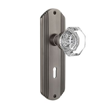 Nostalgic Warehouse Deco Mortise Interior Door Set With Crystal Waldorf Knob - With Keyhole