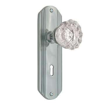 Nostalgic Warehouse Deco Passage Interior Door Set With Crystal Knob - With Keyhole