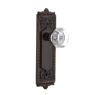Nostalgic Warehouse Egg & Dart Double Dummy Interior Door Set With Crystal Waldorf Knob - No Keyhole