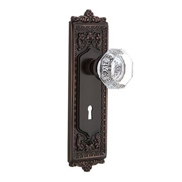 Nostalgic Warehouse Egg & Dart Double Dummy Interior Door Set With Crystal Waldorf Knob - With Keyhole