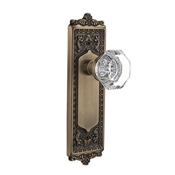 Nostalgic Warehouse Egg & Dart Passage Interior Door Set With Crystal Waldorf Knob - No Keyhole