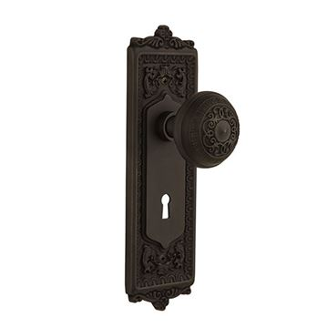 Nostalgic Warehouse Egg & Dart Interior Privacy Door Set - Keyhole