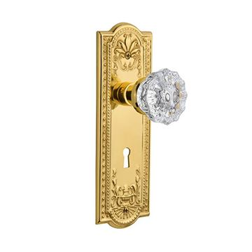 Nostalgic Warehouse Meadows Double Dummy Interior Door Set With Crystal Knob - With Keyhole