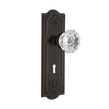 Nostalgic Warehouse Meadows Privacy Interior Door Set With Crystal Knob - With Keyhole