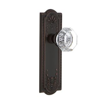 Nostalgic Warehouse Meadows Privacy Interior Door Set With Crystal Waldorf Knob - No Keyhole