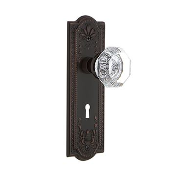 Nostalgic Warehouse Meadows Privacy Interior Door Set With Crystal Waldorf Knob - With Keyhole