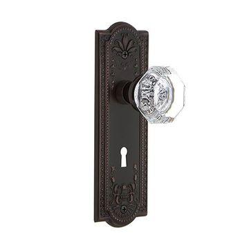 Nostalgic Warehouse Meadows Single Dummy Waldorf Crystal Door Set - Keyhole