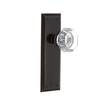 Nostalgic Warehouse New York Double Dummy Interior Door Set With Crystal Waldorf Knob - No Keyhole