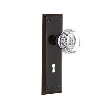 Nostalgic Warehouse New York Double Dummy Interior Door Set With Crystal Waldorf Knob - With Keyhole