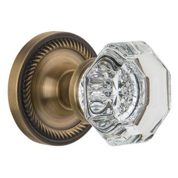 Nostalgic Warehouse Rope Privacy Waldorf Crystal Knob Door Set