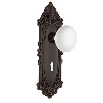 Nostalgic Warehouse Victorian Passage Interior Door Set With White Porcelain Knob - With Keyhole