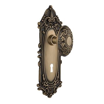 Nostalgic Warehouse Victorian Privacy Interior Door Set With Victorian Knob - With Keyhole