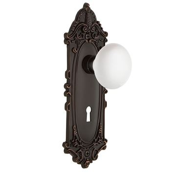 Nostalgic Warehouse Victorian Privacy Interior Door Set With White Porcelain Knob - With Keyhole