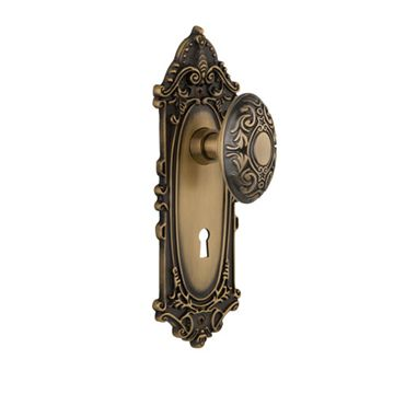 Nostalgic Warehouse Victorian Single Dummy Interior Door Set With Victorian Knob - With Keyhole