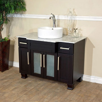 Bellaterra Home 40 Inch Single Vanity With Straight Round Ceramic Sink