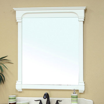 Bellaterra Home 42 Inch Cream White Vintage Molding Mirror