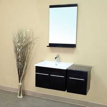 Bellaterra Home Black Contemporary Wall Mount Single Sink Vanity