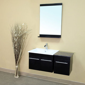 Bellaterra Home Black Contemporary Wall Mount Single Sink Vanity With Side Cabinet
