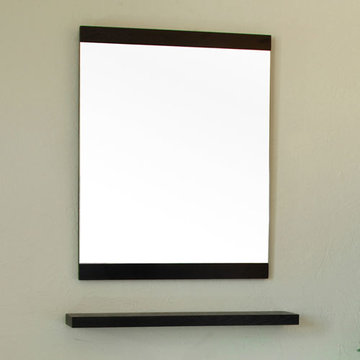 Bellaterra Home Black Wood Framed Mirror With Shelf