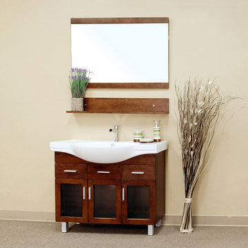 Bellaterra Home Bowed Three Cabinet Single Sink Vanity