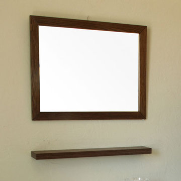 Bellaterra Home Dark Walnut Framed Mirror With Shelf