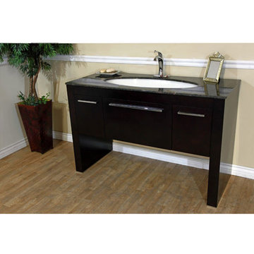 Bellaterra Home Dark Walnut Single Sink Vanity With Tan Brown Marble Top