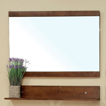 Bellaterra Home Eastern Walnut 39 3/8 Inch Wood Frame Mirror