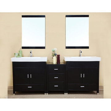 Bellaterra Home Minimalist Black Double Sink Vanity