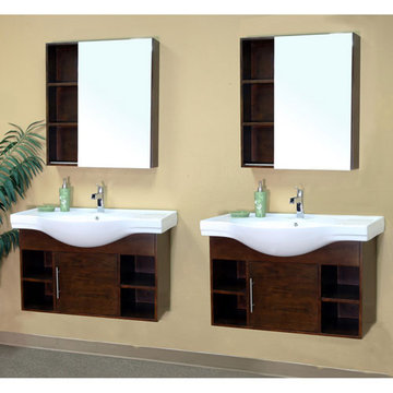 Bellaterra Home Modern Cubby Hole Double Sink Vanity