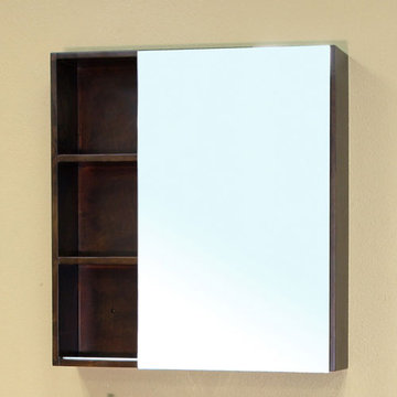 Bellaterra Home Modern Cubby Hole Wood Frame Mirror With Cabinet