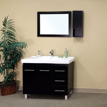 Bellaterra Home Modern Minimalist Black Single Sink Vanity With Right Hand Drawers