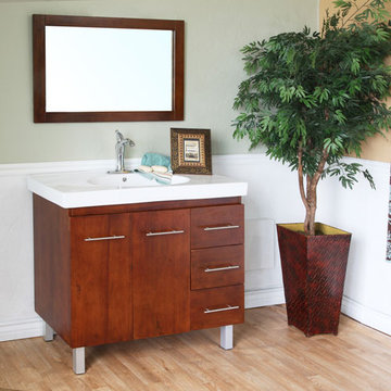 Bellaterra Home Modern Minimalist Walnut Single Sink Vanity