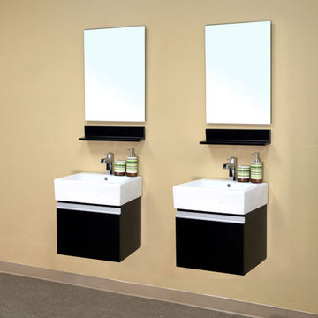Bellaterra Home Pull Down Door Wall Mount Double Sink Vanity