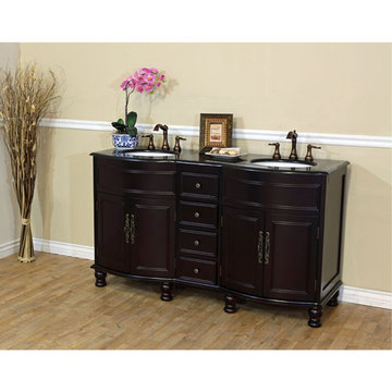 Bellaterra Home Rounded Traditional Mahogany Double Sink Vanity With Black Granite Top