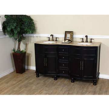 Bellaterra Home Rounded Traditional Mahogany Double Sink Vanity With Travertine Top