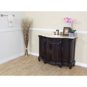 Bellaterra Home Traditional Rope Single Sink Vanity With Crema Marfil Marble Top