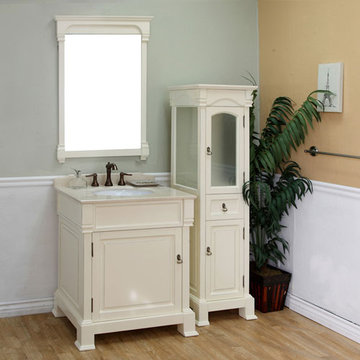 Bellaterra Home Vintage 30 Inch Cream White Single Sink Vanity
