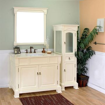 Bellaterra Home Vintage 42 Inch Cream White Single Sink Vanity