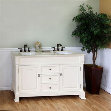 Bellaterra Home Vintage 60 Inch Cream White Double Sink Vanity
