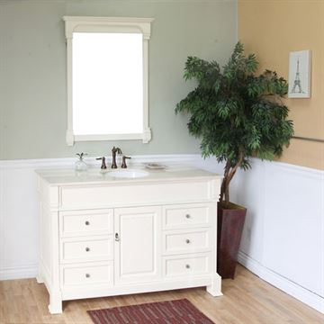 Bellaterra Home Vintage 60 Inch Cream White Single Sink Vanity
