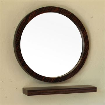 Bellaterra Home Zebrawood Round Mirror With Shelf