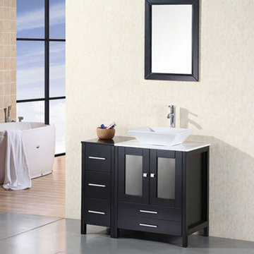 Design Element Arlington 36 Inch Single Vessel Sink Vanity Set With Mirror