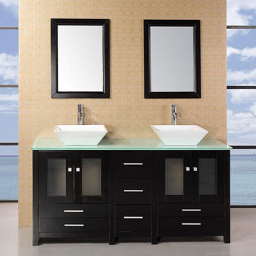 Design Element Arlington 61 Inch Double Sink Vanity Set With Glass Top And Mirrors